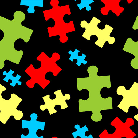 Vector. Seamless ornament puzzle in color  33 Illustration