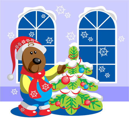 Vector. Bear ready xmas color 15 Stock Vector - 5586745