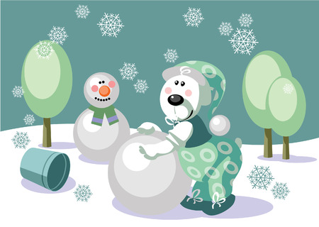 16: Vector. Bear make snowman color 16