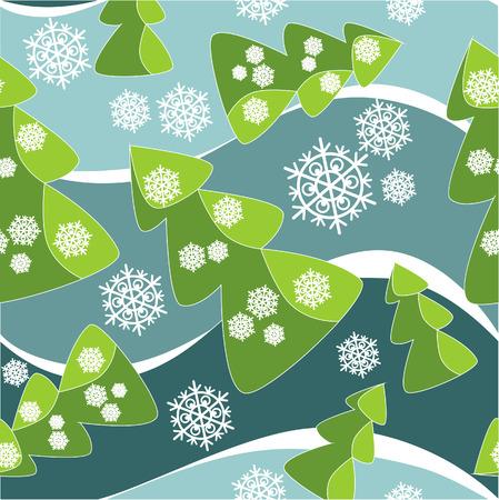 Vector. Ornamento senza soluzione di continuit� con l'albero di Natale a colori 38