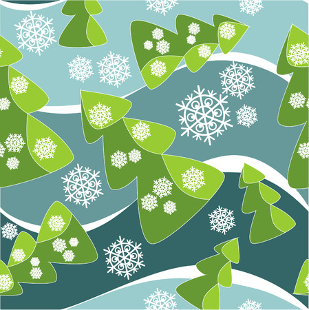paper ball: Vector. Seamless ornament with christmas tree  in color  38