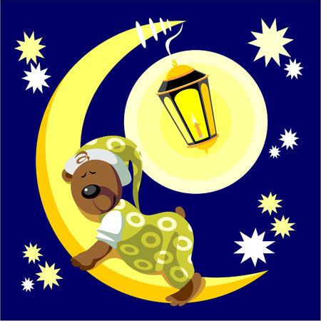 ベクトル。月面カラー 17 の上で寝るクマ
