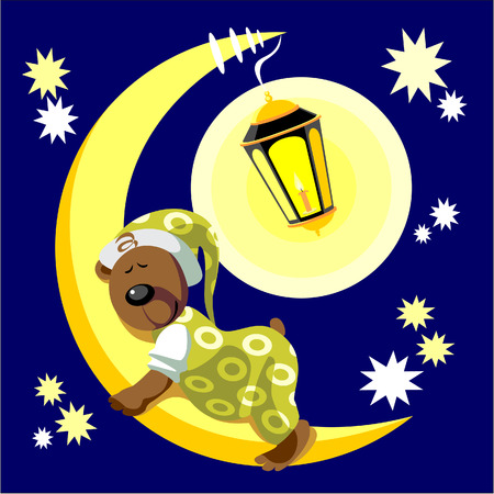 Vector. Bear sleep on moon color 17 Vector