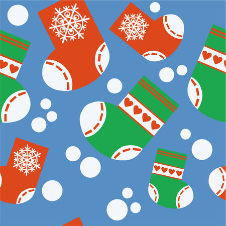 Vector. Seamless xmas stocking ornament in color 64 Vector