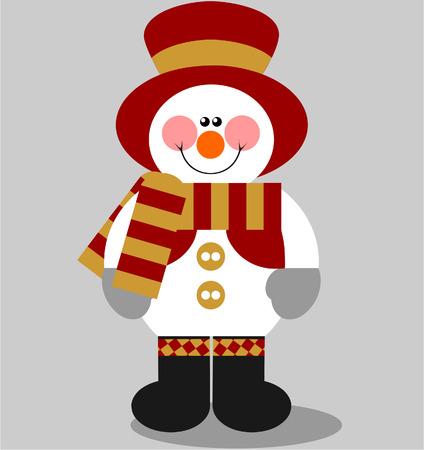 ベクトル。色 03 笑顔雪だるま  イラスト・ベクター素材