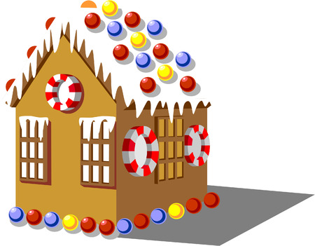 Gingerbread house color 01 Illustration