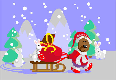 delivers: Forest Santa Claus- Bear delivers gift for animals 22 Illustration