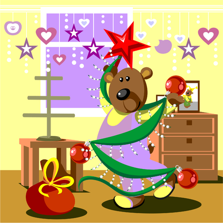 Bear dresses fir tree 21 Vector