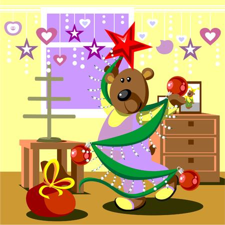 Bear dresses fir tree 21 Stock Vector - 5741627