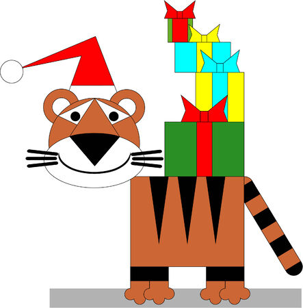 Tiger winter xmas color 03 Vector