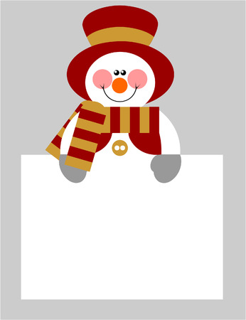 Vector. Smile snowman  in color 04