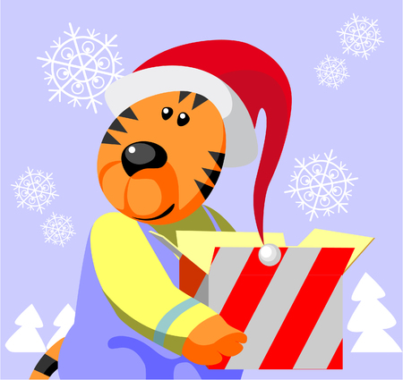 Vector. Tiger ready xmas color 05 Stock Vector - 5807687