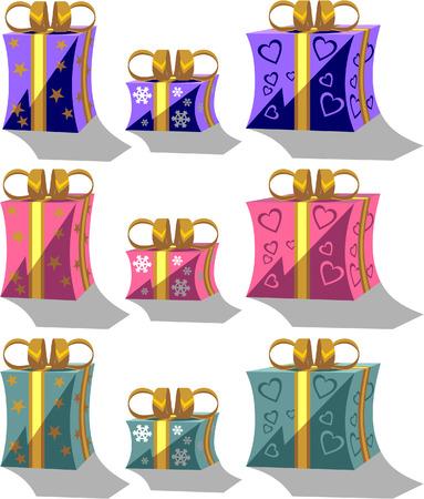 Vector. Holiday giftbox set in color 01 Vector