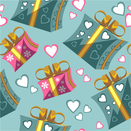 Vector. Seamless ornament with gift box set  in color  95 Illustration