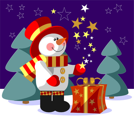 Vector. Snowman  with gift in color 05