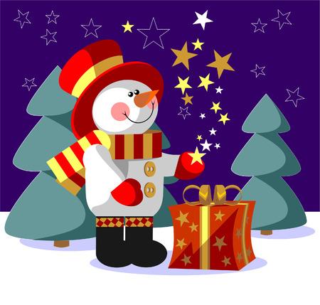 Vettore. Pupazzo di neve con regalo in colore 05
