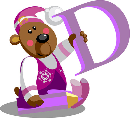 Vector.Smile bear with alphabet letter D  in color 01