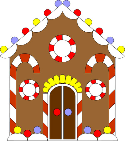 traditional house: Vector. Gingerbread house color 02