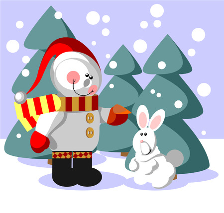 Vector. Snowman  with gift in color 06 Stock Vector - 5884113