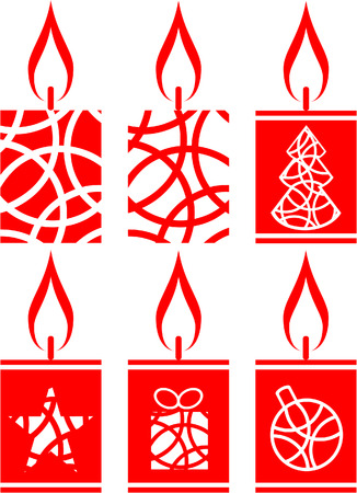 Candle set in color Vector