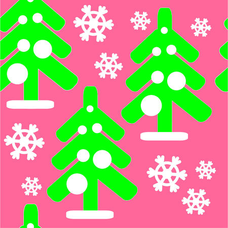 Seamless ornament with christmas tree Vector