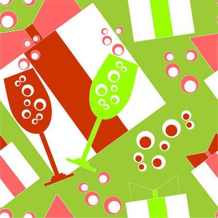 Seamless ornament with christmas in color Vector