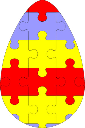 Vector. Holiday puzzle egg in color 03 Vector