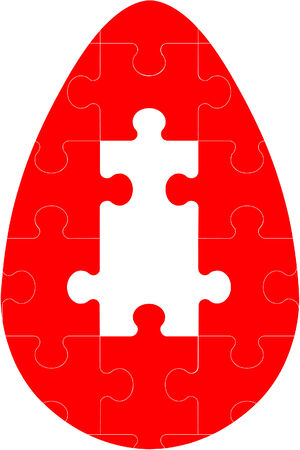 Vector. Holiday puzzle egg in color 04 Vector