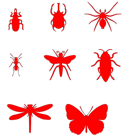 Insect set in color  01 Vector