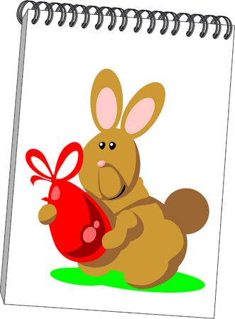 .Notes with hare in color 07 Vector