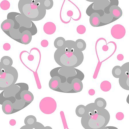 emo: Naadloze beer ornament in kleur  Stock Illustratie