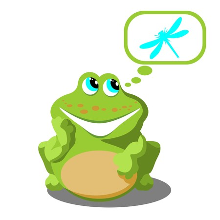 Frog with dragonfly Vector
