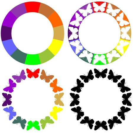 Ornament set in color Vector