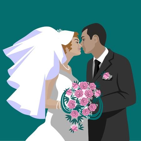 色の結婚式のカップル  イラスト・ベクター素材