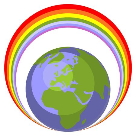 rainbow sphere: Earth globe set Illustration