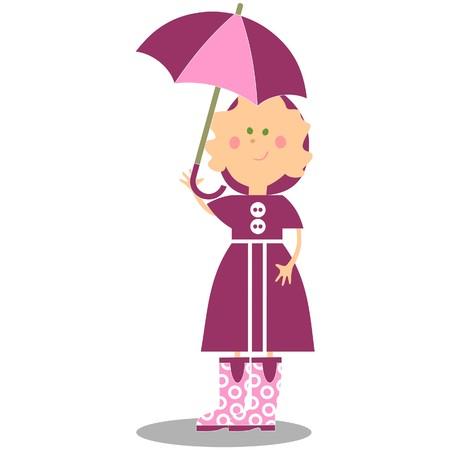 Girl walking with umbrella 17 Stock Vector - 7172842