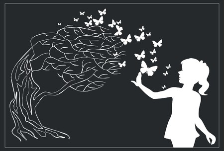 Tree with butterfly and girl in black 0 3 Vector