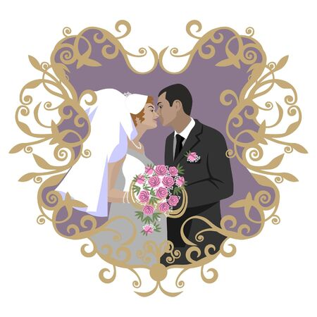 Wedding couple in color 09 Vector