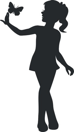 walking girl in black Vector