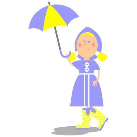 Girl walking with umbrella 20 Vector