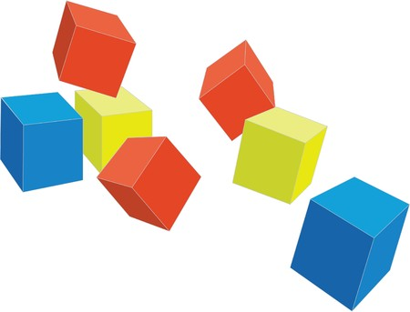 3d cubes in color 4 Stock Vector - 7410946