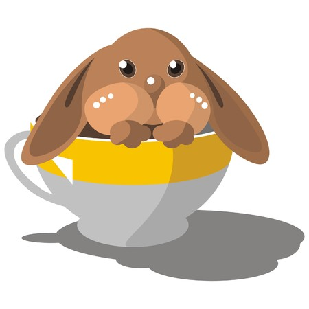trickery: Vector. Hare in cup in color 08 Illustration