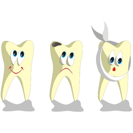whiten: Vector. Tooth cartoon set 001