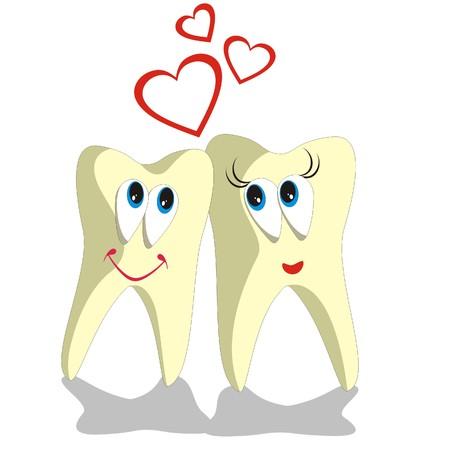 diente caricatura: Vector. Caricatura de diente establece 002
