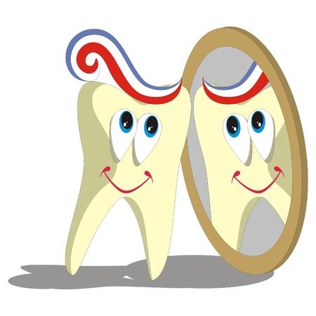 diente caricatura: Vector. Caricatura de diente establece 004