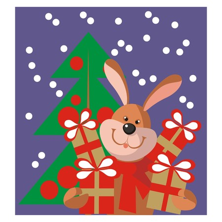 Hare new year gift in color  Vector