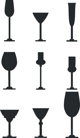 Wineglass silhouette set 01 Vector