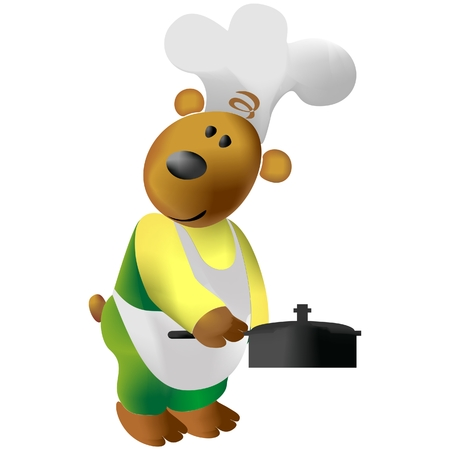Bear cooking color   Illustration