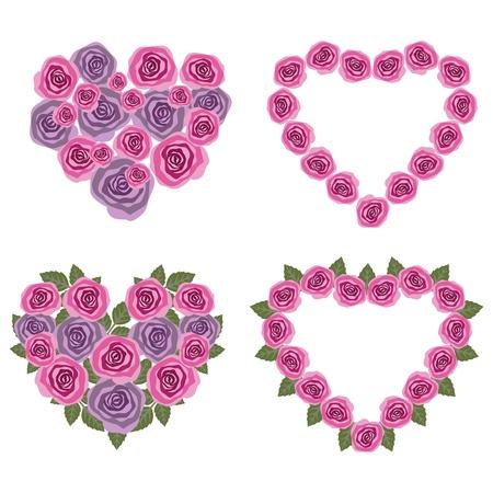 Hearts flower set   Vector