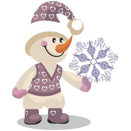 ベクトル。10 色の雪だるま  イラスト・ベクター素材